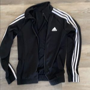Adidas small zip up jacket black and white